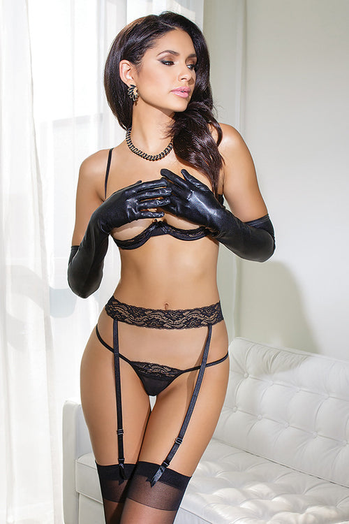 Mesh Cupless Bra, Garter & Lace G-String Set