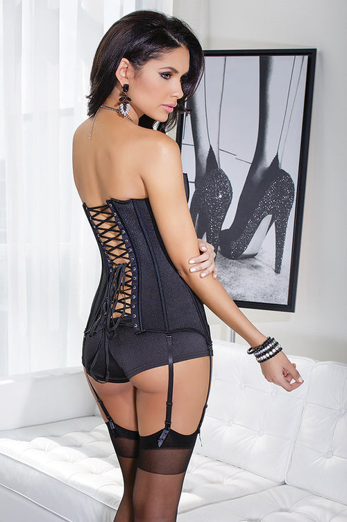 Stretch Knit Corset with Removable Garters