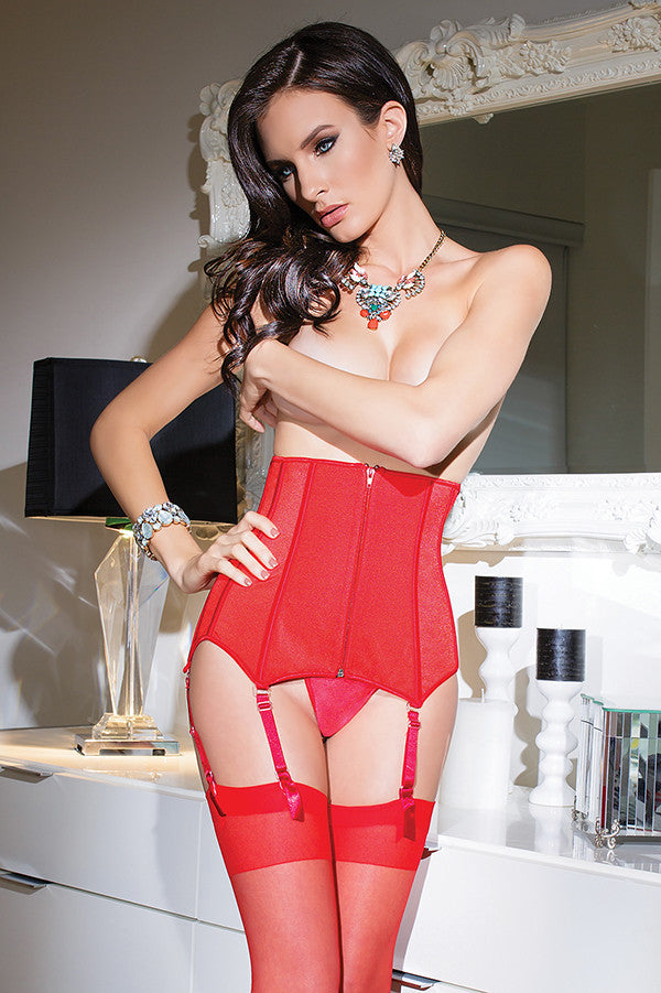 Stretch Knit Waist Cincher with Removable Garters