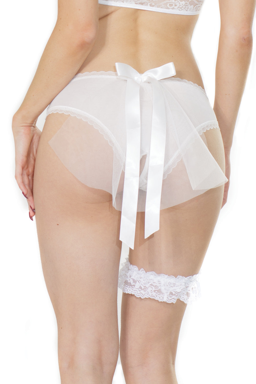 Bridal Mesh Crotchless Panty With Tulle Veil