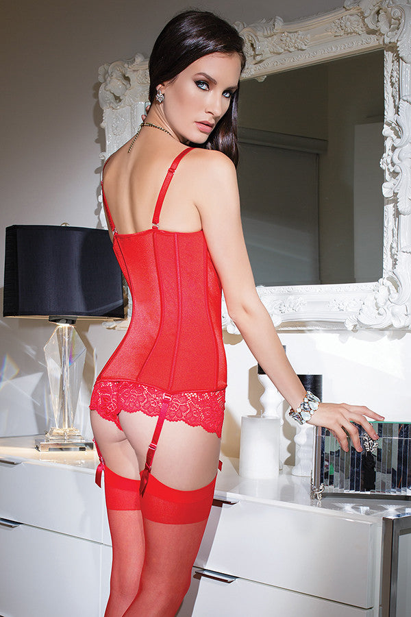 Stretch Knit Bustier with Removable Garters
