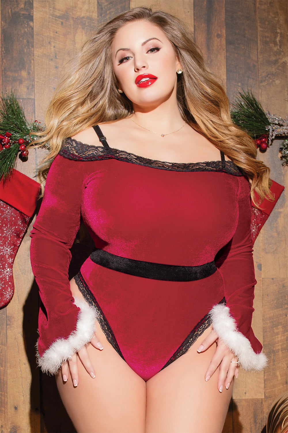 Velvet off-the-shoulder Santa Teddy