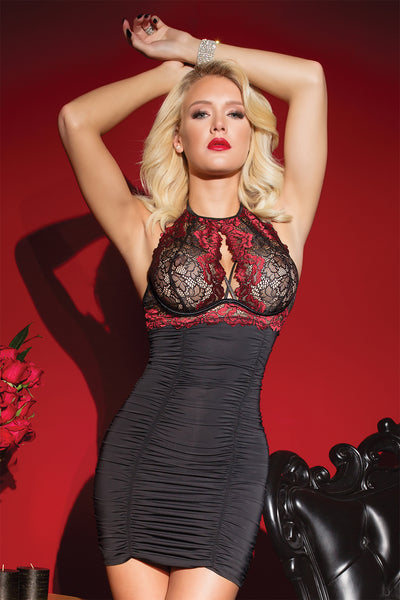 Rose Print Stretch Lace Halter Chemise