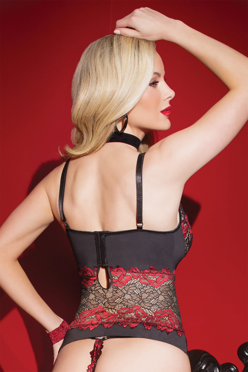 Rose Print Scalloped Stretch Lace & Microfiber Bustier