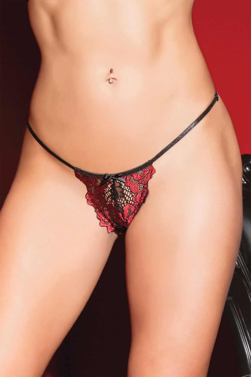 Rose Print, Scalloped Stretsch Lace G-String