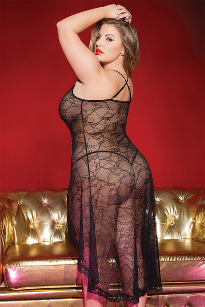 Diva Stretch Lace Gown with Front Slit