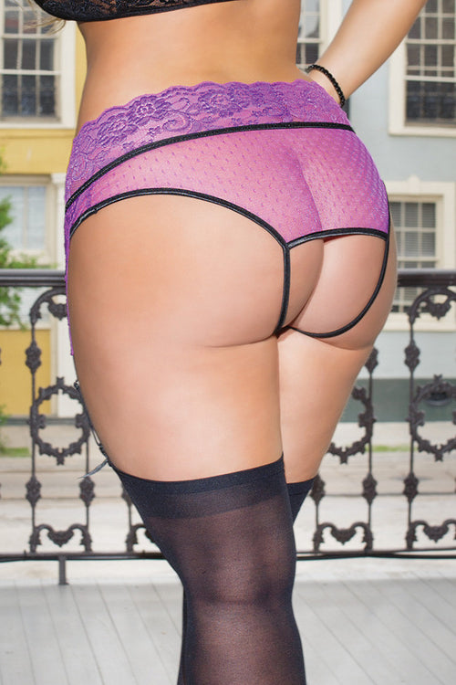 Crotchless Lace Panty with Garters