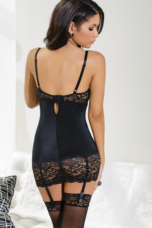 Knit Chemise with Lace Demi Cups