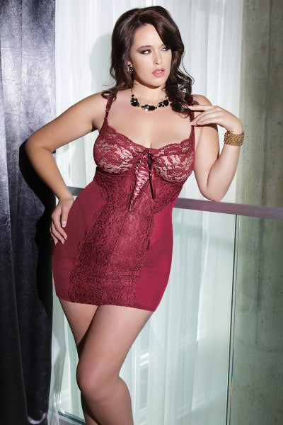 Diva Powernet Chemise with Soft Lace