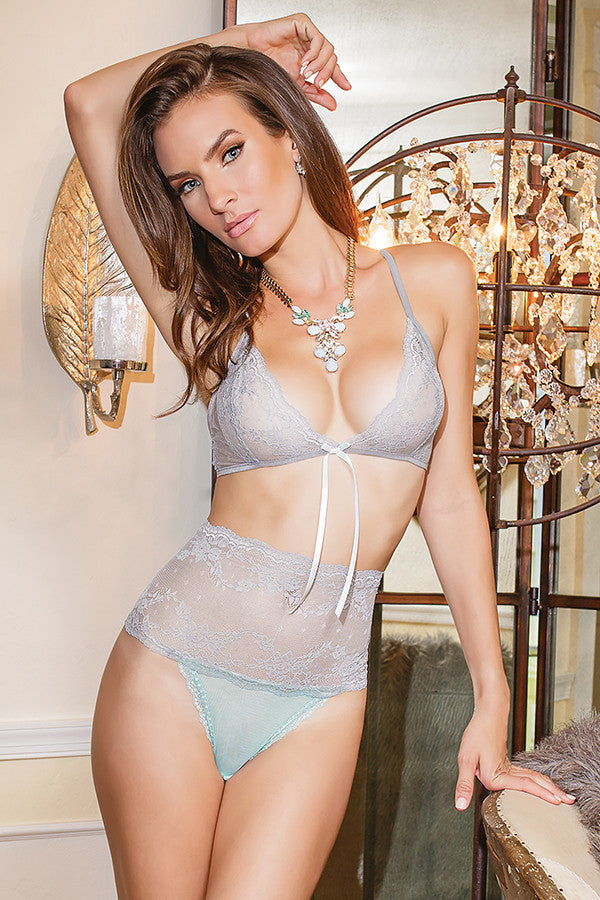 Stretch Lace Bra & High Waisted Lace Crotchless Panty