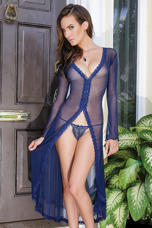 Mesh High-Low Robe with Lace trim