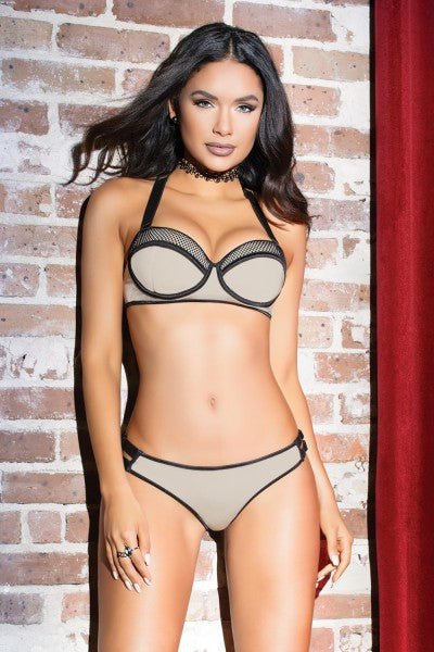 Stretch Knit & Fishnet Bra & Panty Set