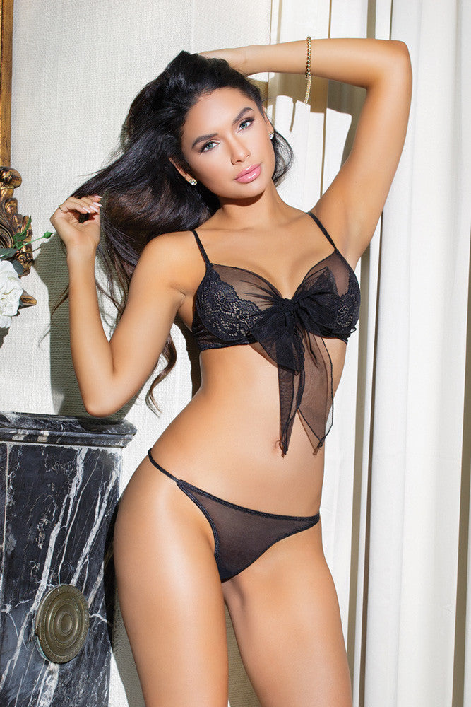 Sheer & Scalloped Lace Bra & Thong Set