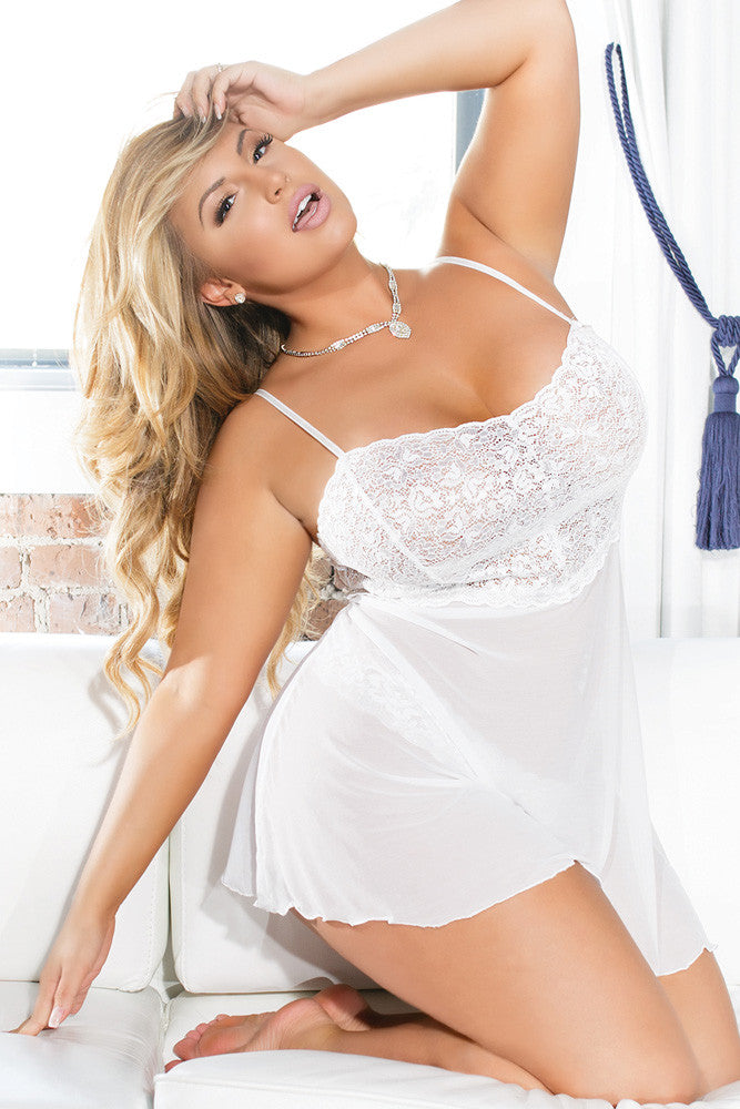 Stretch Lace Babydoll with Mesh Skirt & Thong