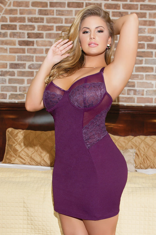 Diva Stretch Knit Chemise with Lace Panels
