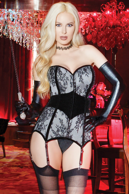 Lace over Satin Metal Boned Corset