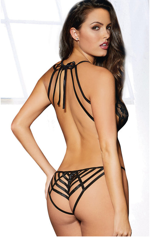 Stretch Lace Halter Teddy with Strappy Back Panty Detail and Lace Eye Mask