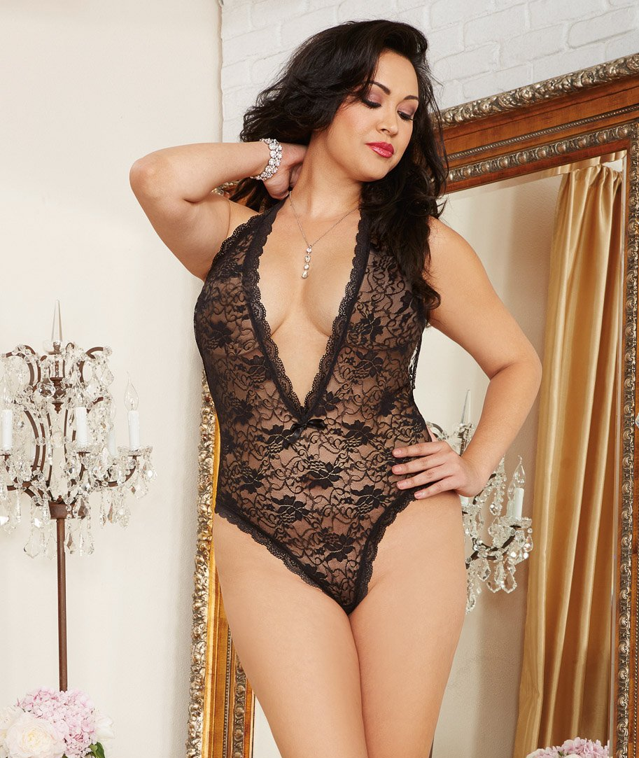Seductive Lace Teddy with Heart Cut-Out Detail