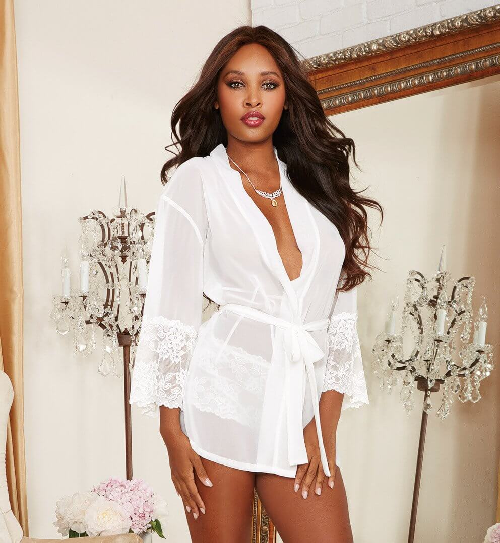 Alluring Sexy Chiffon Short Kimono Robe with Delicate Cheeky Pant