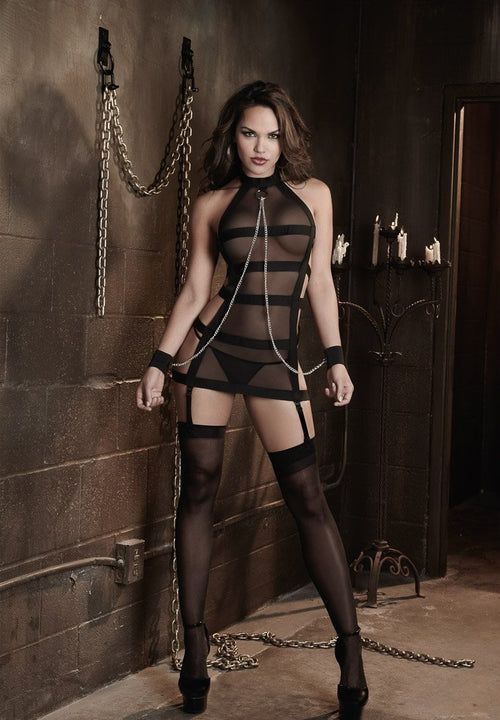 Sexy Fetish Sheer Mesh and Strappy Bandage Halter Garter Slip with Chain Wrist Restraints and Matching G-String
