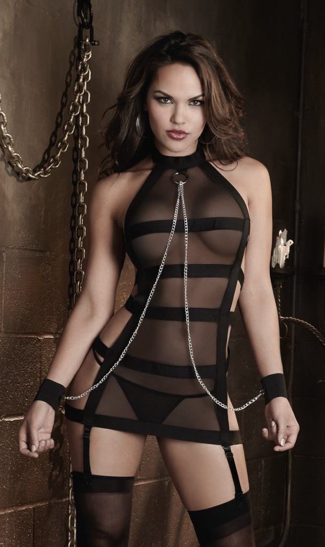 Sexy Fetish Sheer Mesh and Strappy Bandage Halter Garter