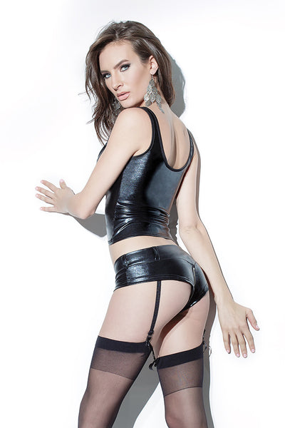 Wetlook Shorts with Garters