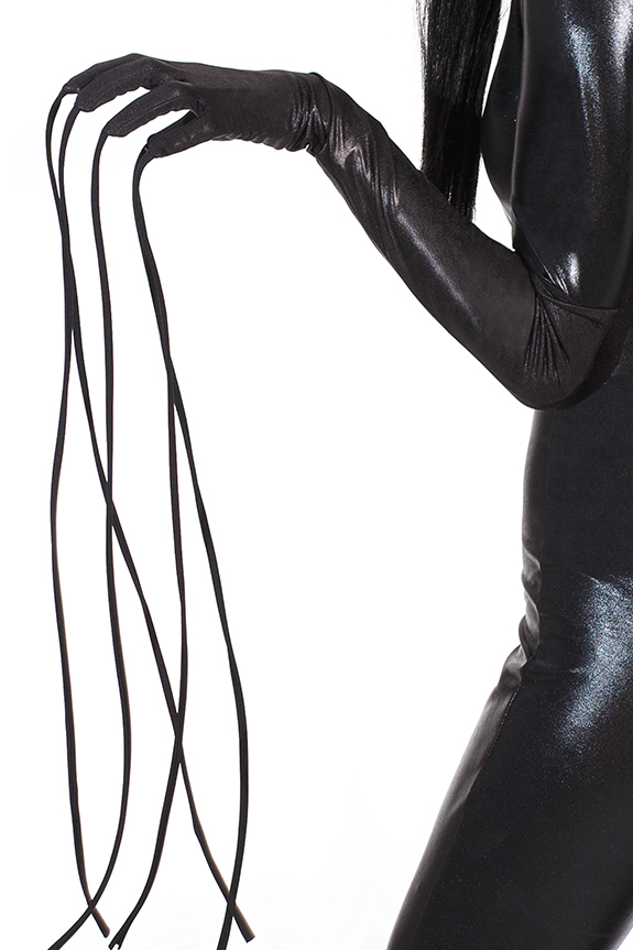 Wetlook gloves with attached finger whips