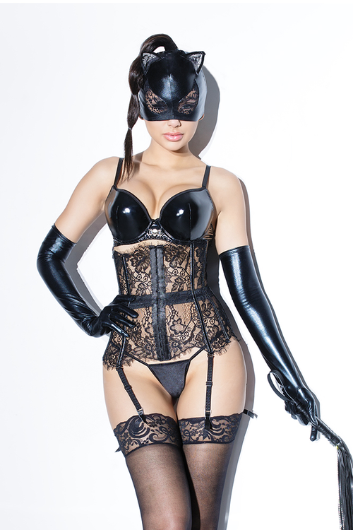 Wetlook Cat Mask with Lace Eyes and Ears