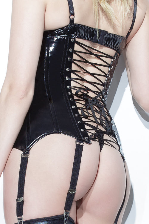 Wetlook Waist Cincher with Lace up cord