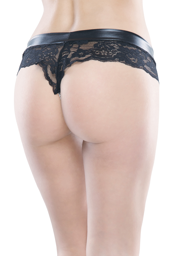 Wetlook & Scallop Lace Chain Panty
