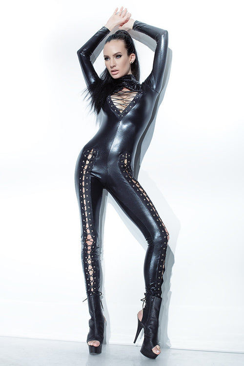 Wetlook Jumpsuit with Lace up
