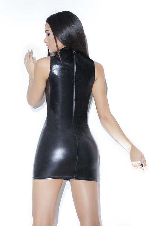 Wetlook Dress with Lace up detail