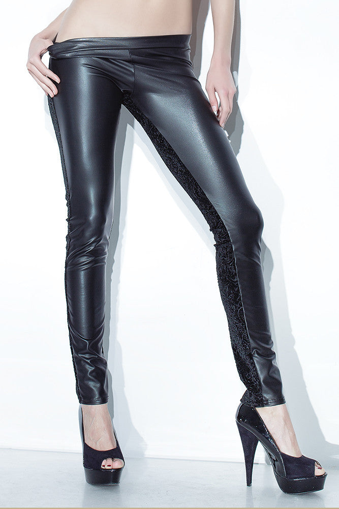 Embossed Velvet & Matte Wetlook Pants