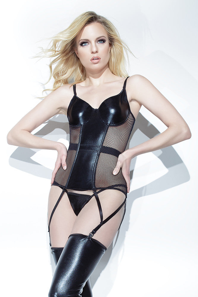Wetlook & Fishnet Bustier