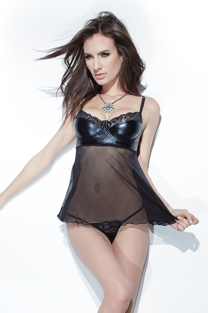 Wetlook Mesh & Stretch Lace Babydoll & G String