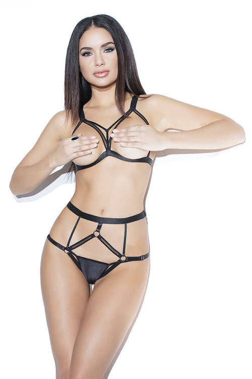 Cupless Bra & Crotchless Panty Leather look