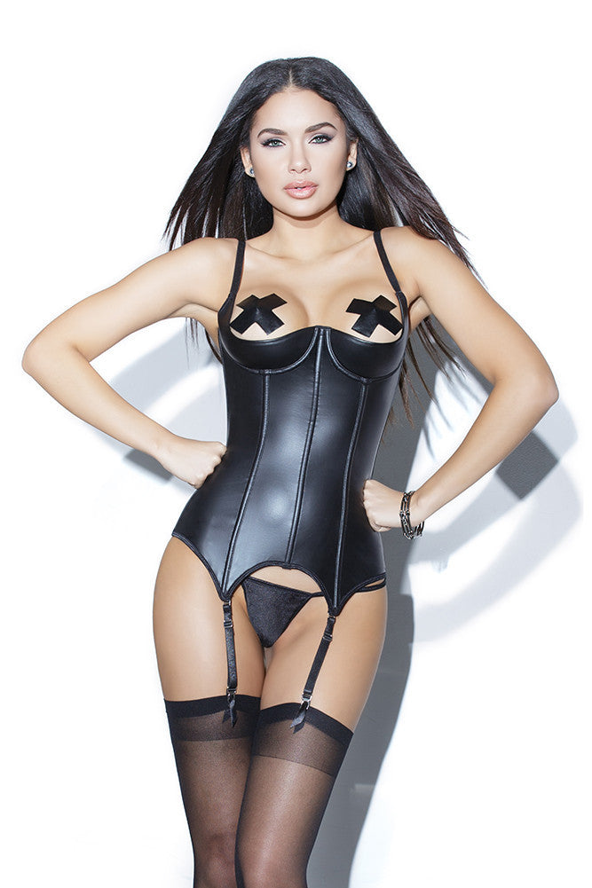 Matte Wetlook Boned Demi Cup Bustier