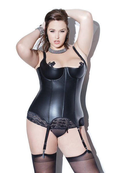 Diva Matte Wetlook Boned Demi Cup Bustier