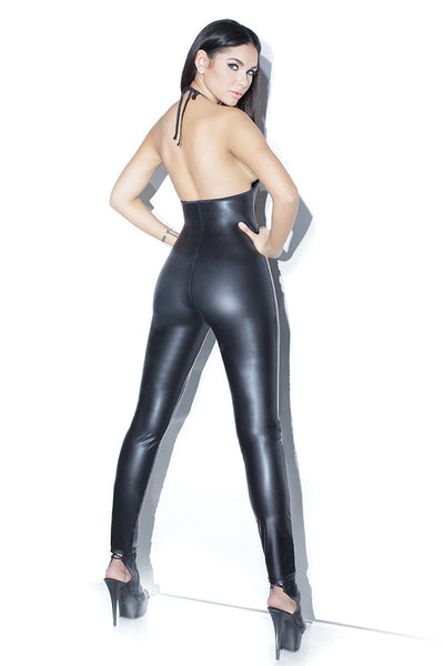 Matte Wetlook Halter Jumpsuit