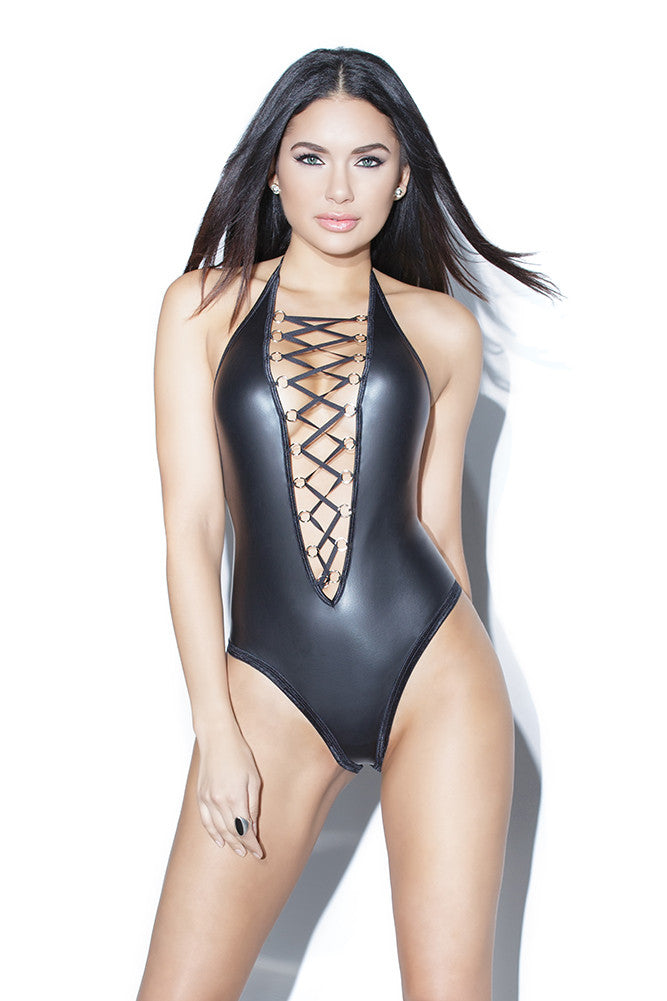 Matte Wetlook High Cut Halter Teddy