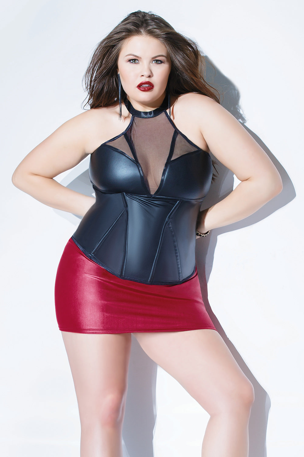 Diva Matte Wetlook Boned Bustier