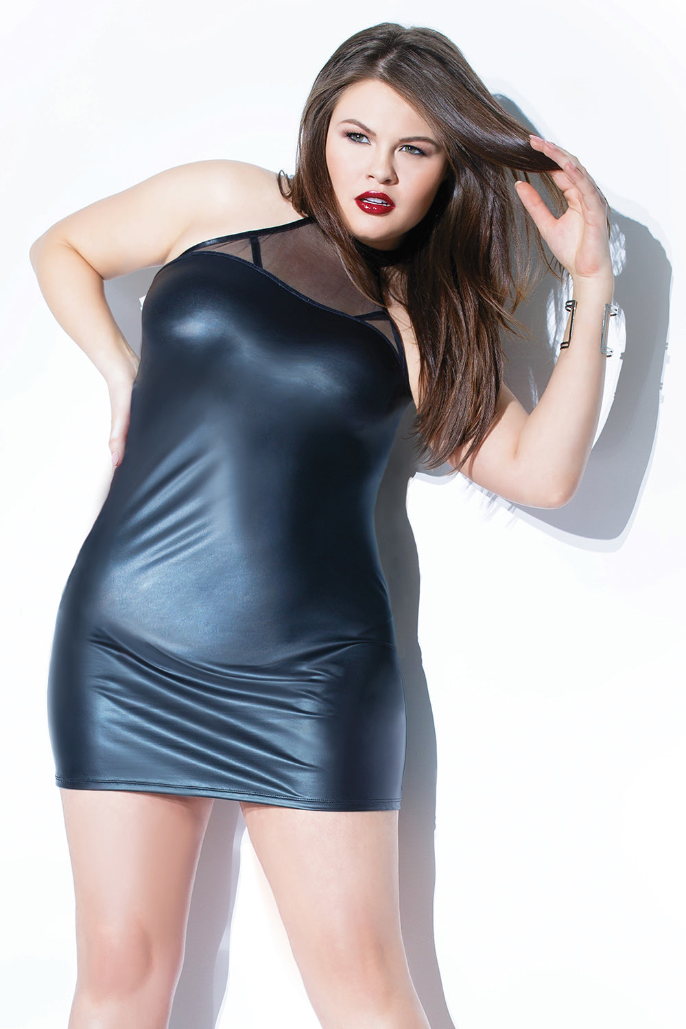 Matte Wetlook & Sheer Halter Dress