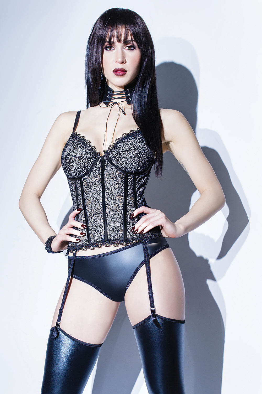 Patterned Lace Boned Bustier