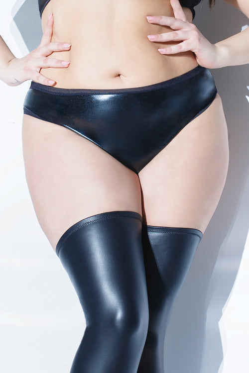 Wetlook Panty with Fishnet Trim