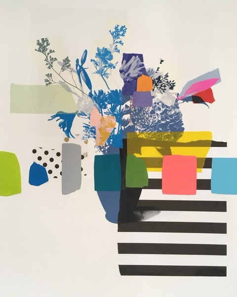 Emily Filler | Paper Bouquet (blue flowers + stripes) 30x22""