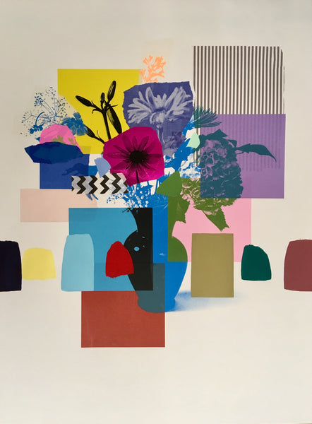 Emily Filler | Paper Bouquet (blue + green + black vase) 30x22""