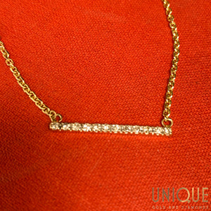 10k Gold Bar With Diamonds On Chain 16.5 Inch