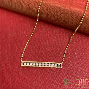 14k Gold Bar With Diamonds On 16 Inch Bead Chain