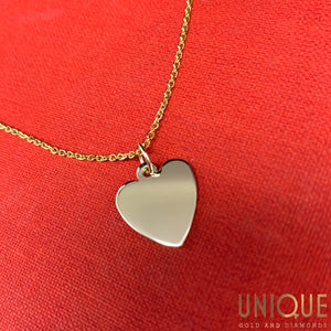14k Gold Heart Necklace 18 Inch