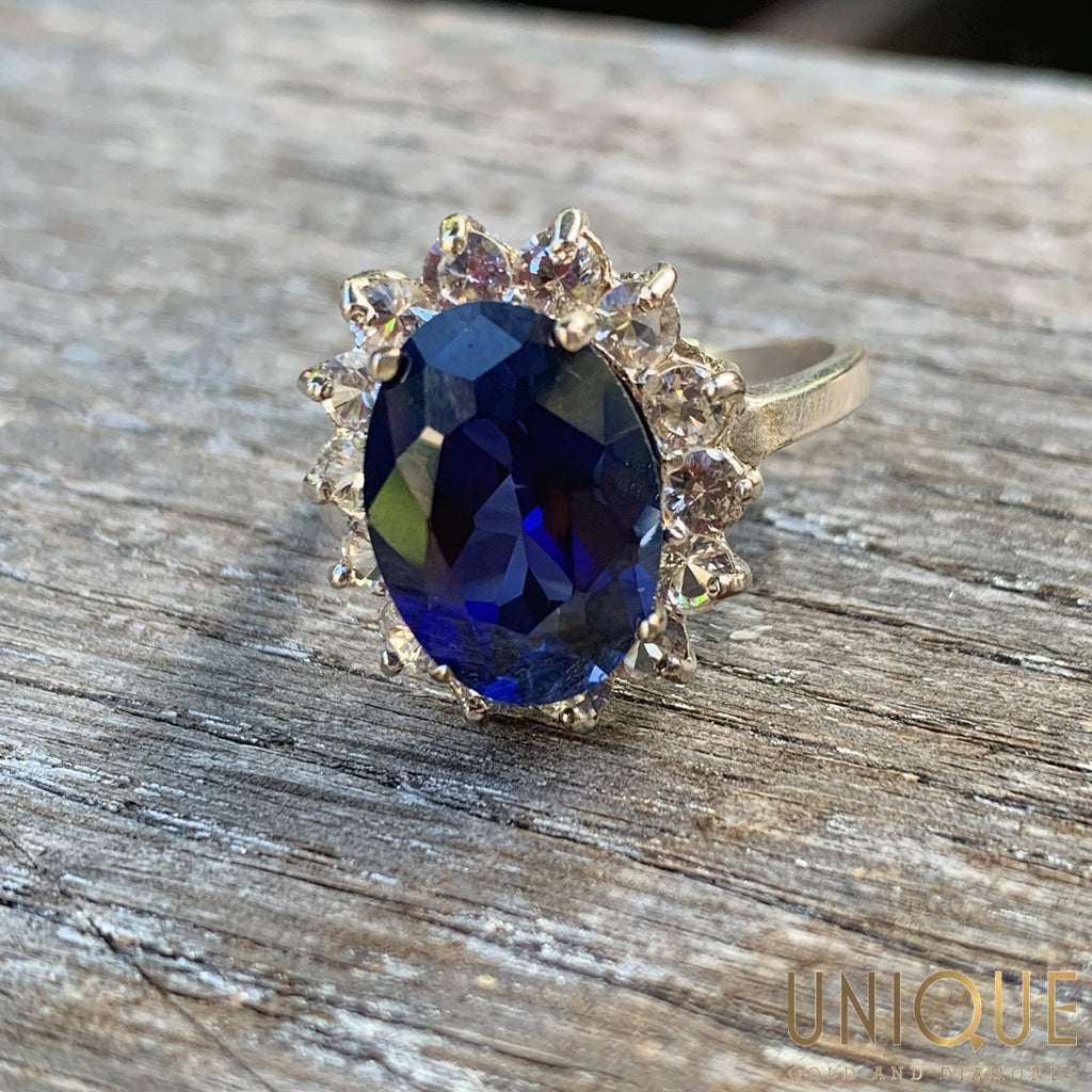 Sterling Silver Sapphire Cocktail Ring with CZ Halo - Default Title
